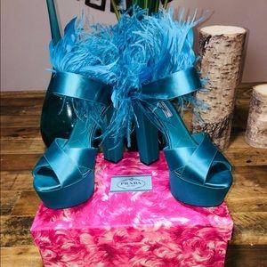 NWT PRADA Fleather Satin Trim Platform Sandals